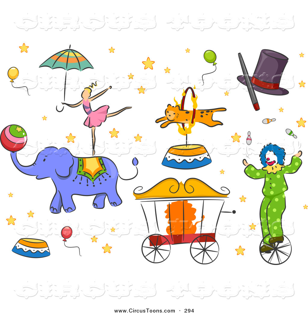 Circus Clipart of Circus Animals People and Design Elements.