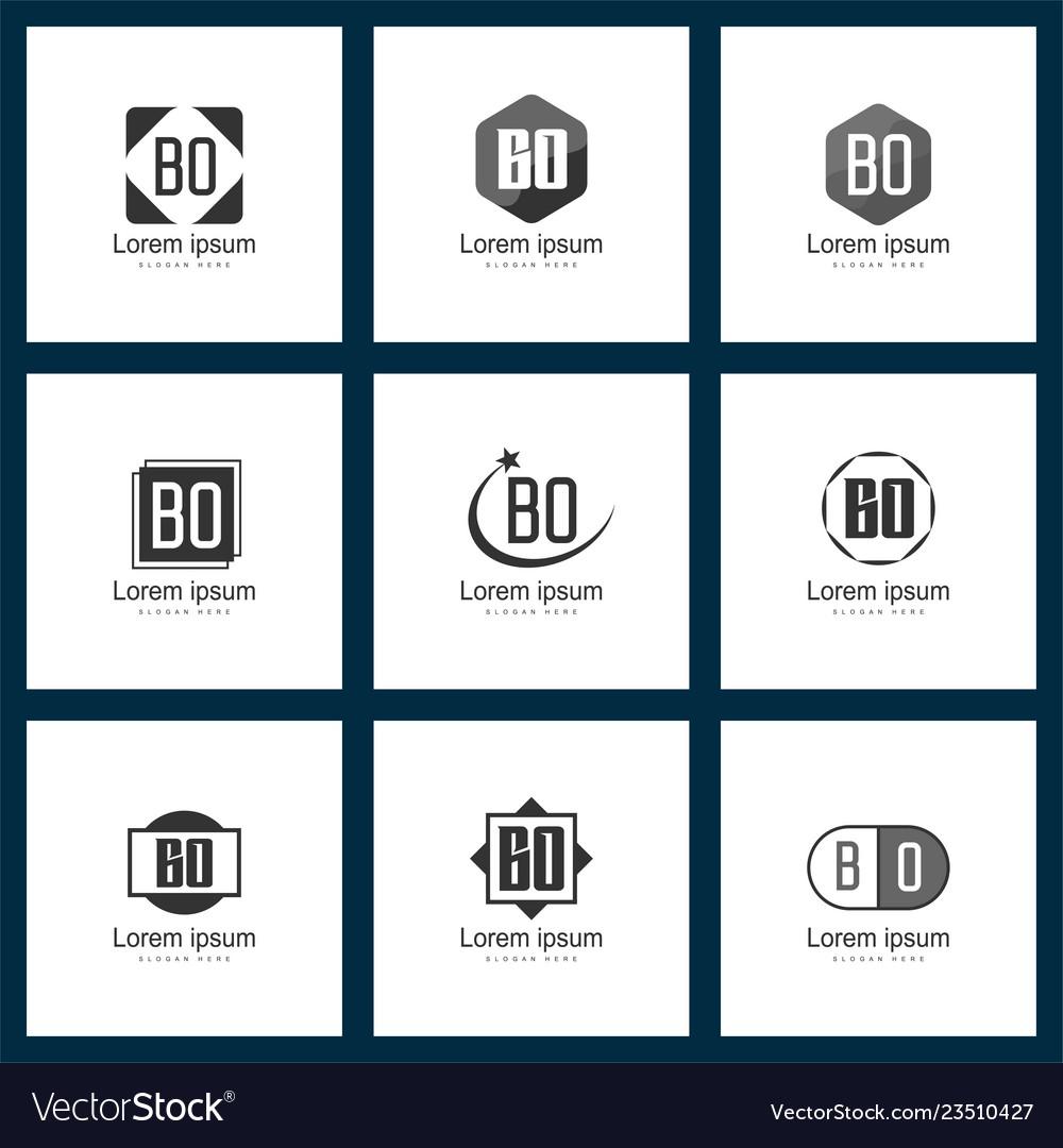 Set of letter logo initial bo logo template design vector image.