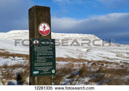 Stock Image of Open access signs on foot stile onto Wild Boar Fell.