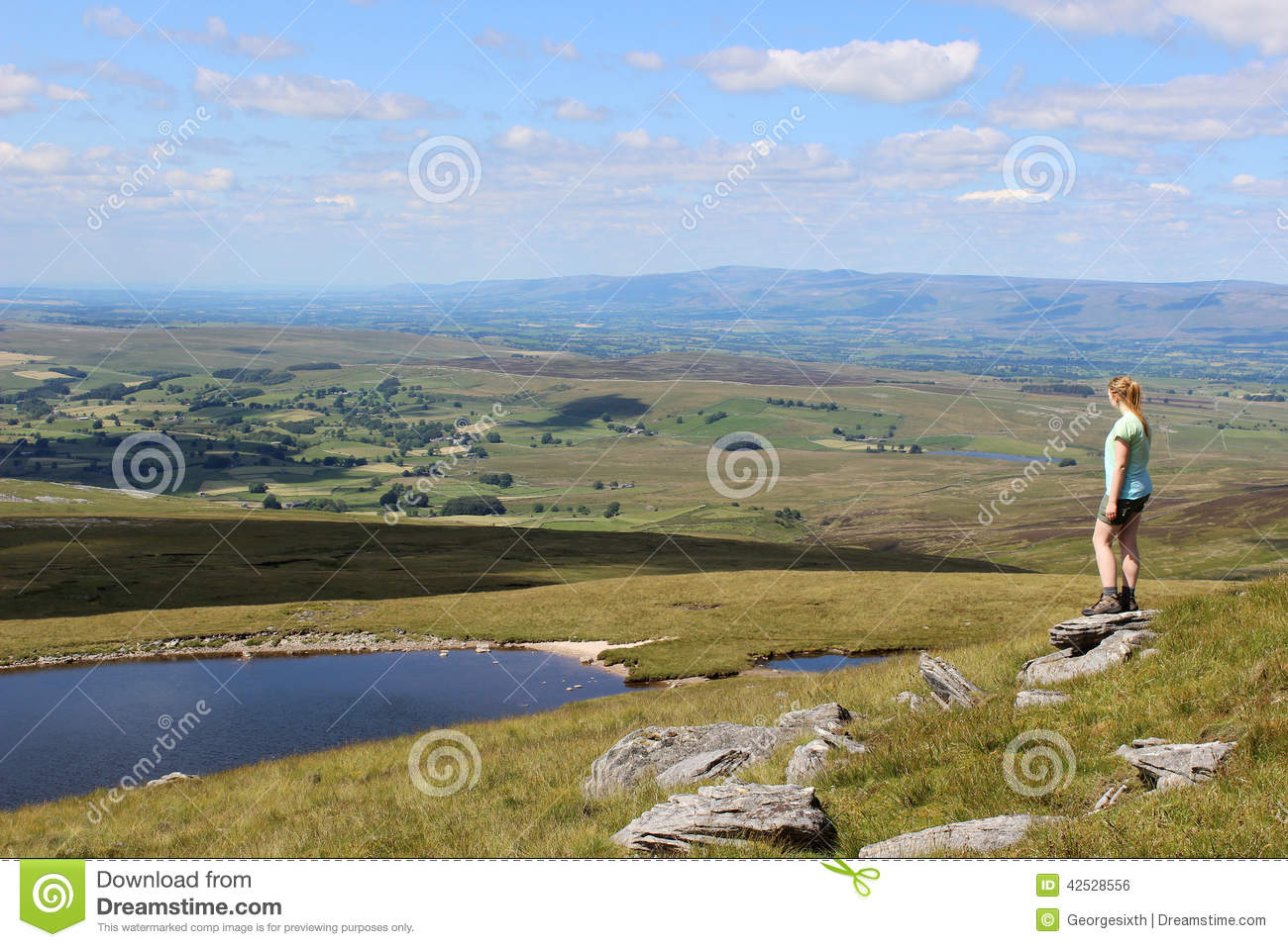 Wild Boar Fell To Sand Tarn And The Eden Valley Stock Photo.