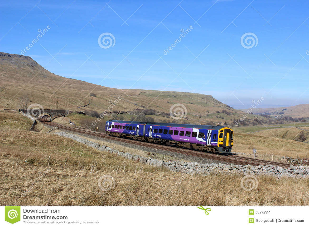 Train, Mallerstang And Wild Boar Fell, Cumbria Editorial Photo.