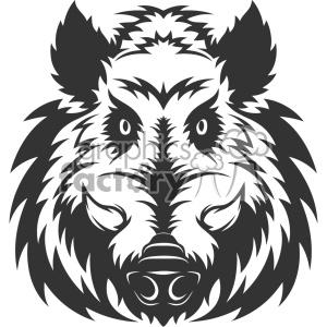 wild boar head vector art clipart. Royalty.