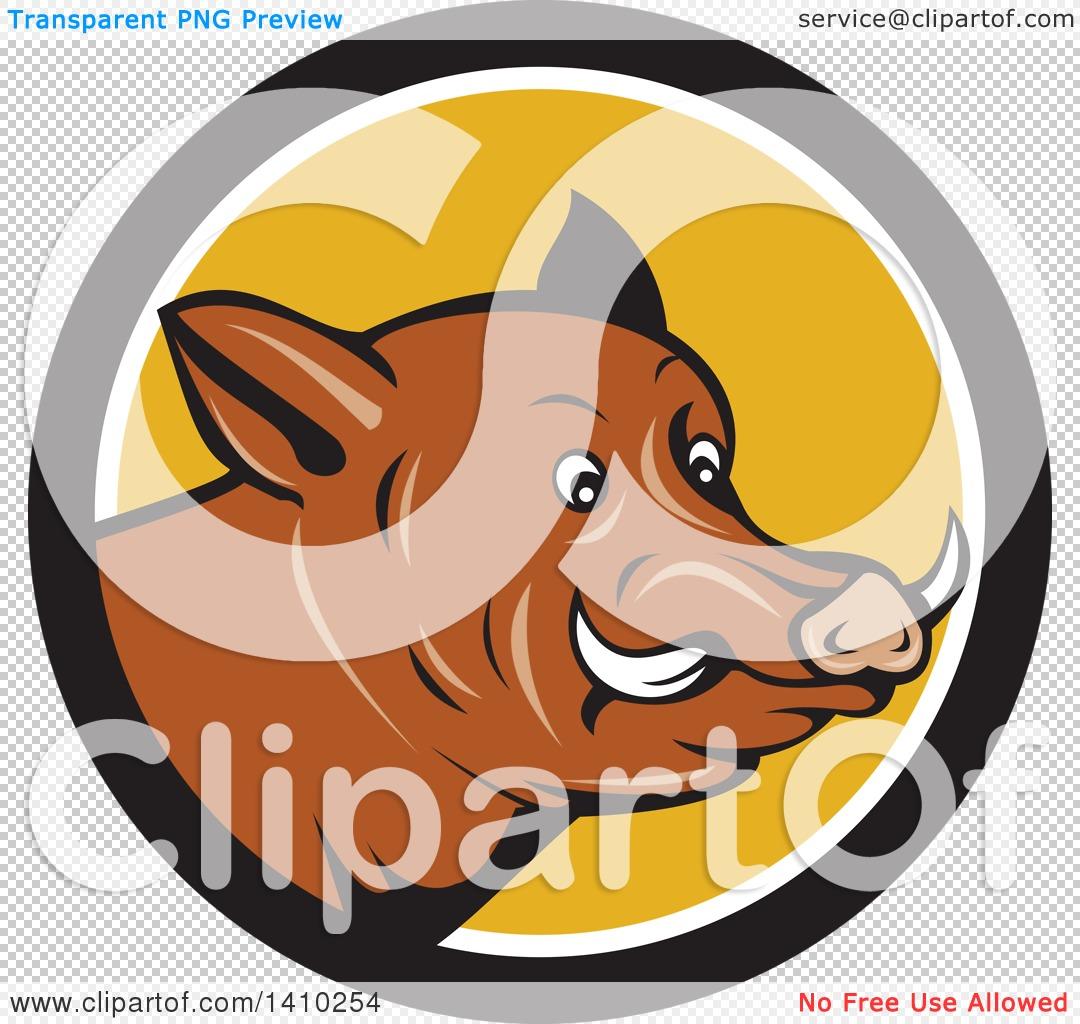 Clipart of a Cartoon Wild Razorback Boar Head in a Black White and.
