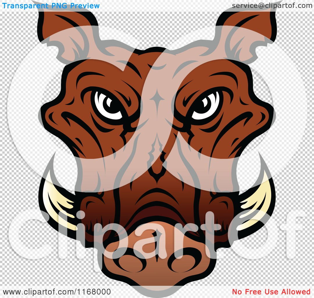 Clipart of a Brown Tusked Boar Head.