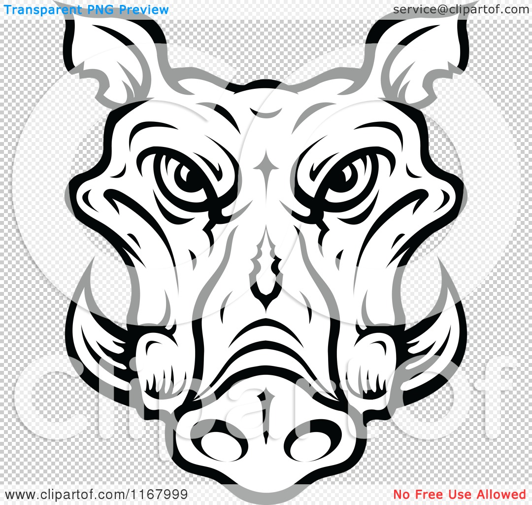 Clipart of a Black and White Tusked Boar Head.