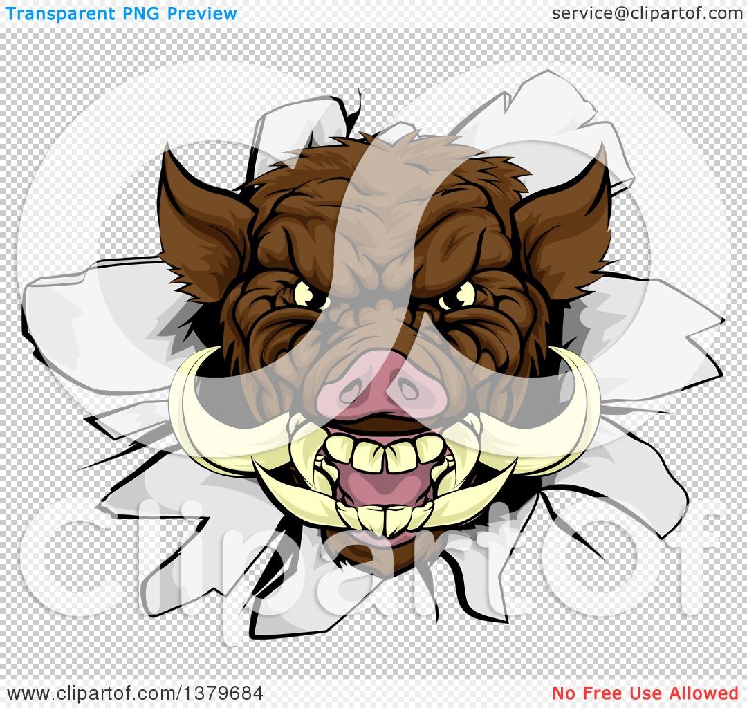 Clipart of a Brown Boar Head Breaking Through a Wall.