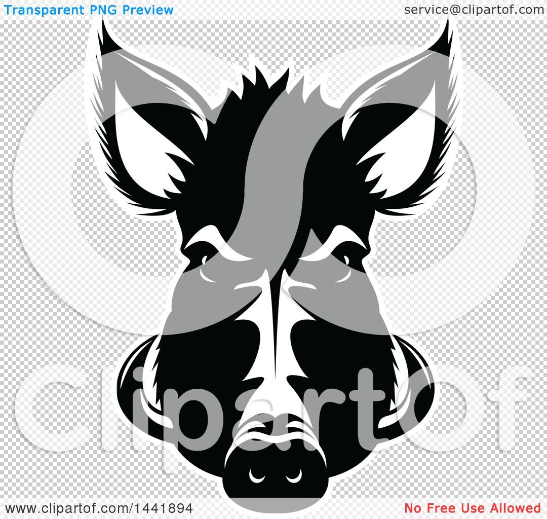 Clipart of a Black and White Razorback Boar Head.