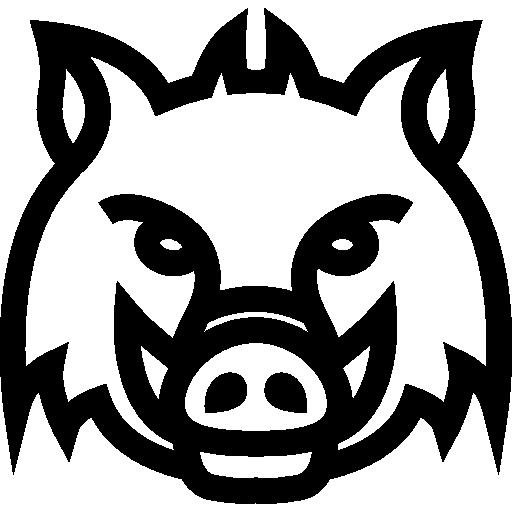 Wild boar head frontal outline.