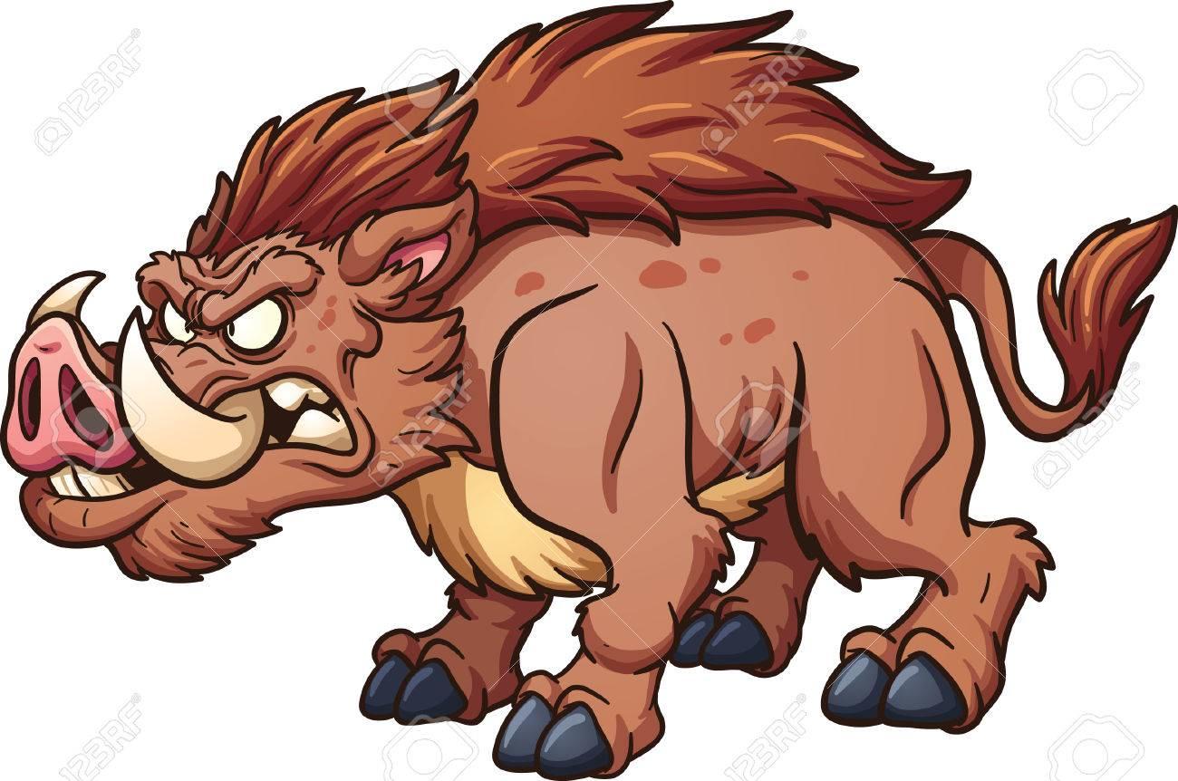 Cartoon wild boar. Vector clip art illustration with simple gradients.