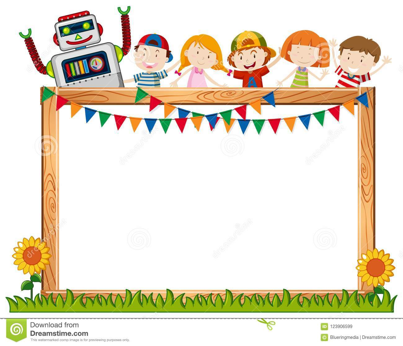 A Frame Board With Happy Children Stock Vector.
