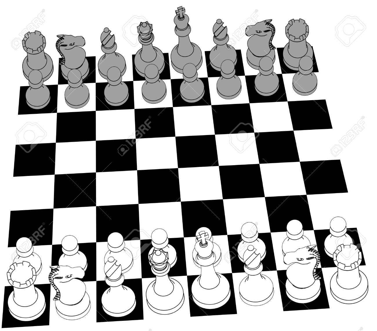 Board Game Pieces Clipart In Black And White.