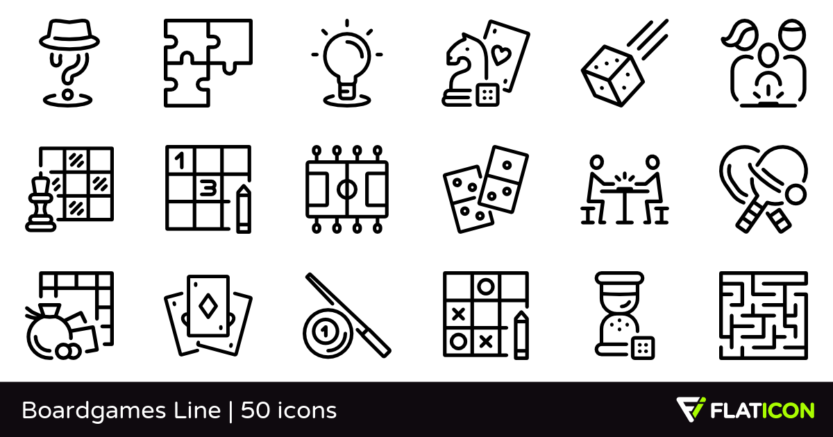 Boardgames Line 50 free icons (SVG, EPS, PSD, PNG files).