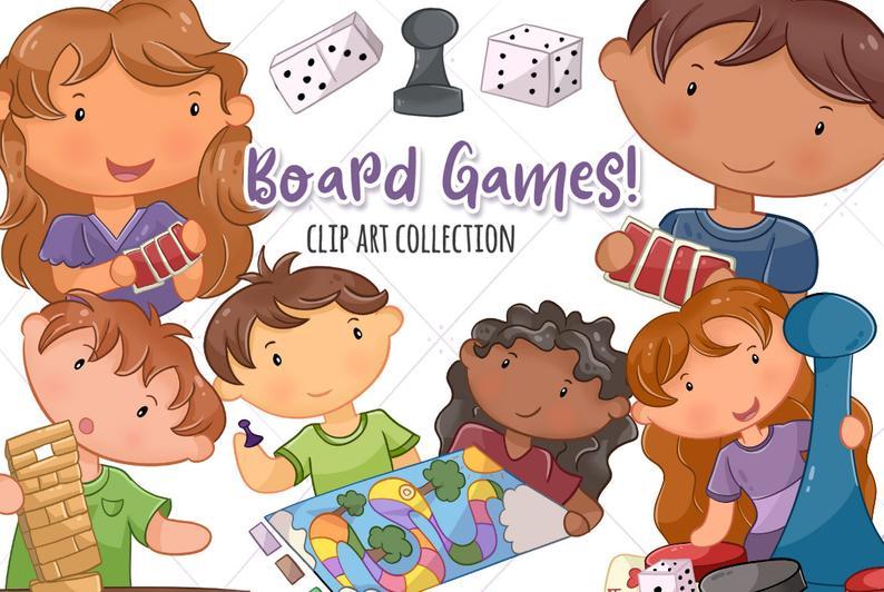 Cute Kids Playing Board Games Clip Art, Kawaii Kids Playing Games, Children  Playing Games, Board Games, Fun Clipart.