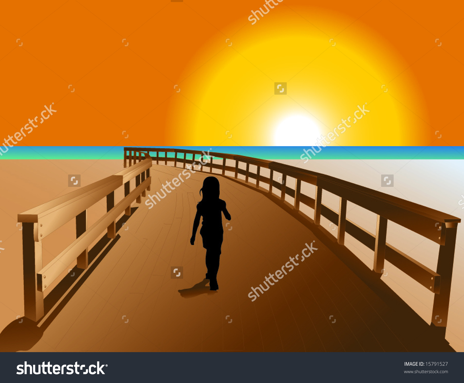 A Little Girl Walking Down A Boardwalk Stock Vector Illustration.