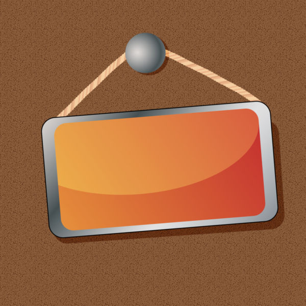 Clip art of orange board hanging on a wooden wall.