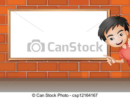 Clip Art Vector of A smiling boy and a white board.