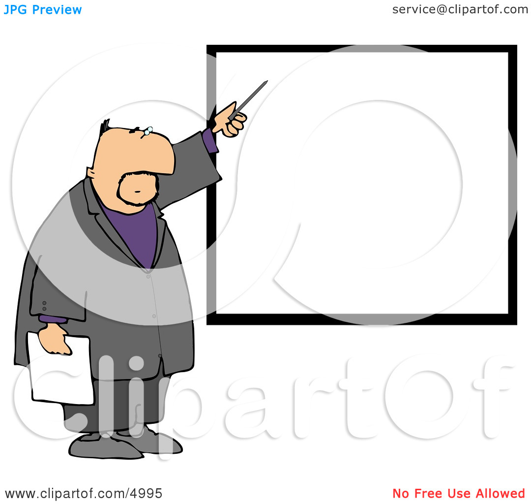 Businessman Pointing at a Blank Board On a Wall Clipart by Dennis.