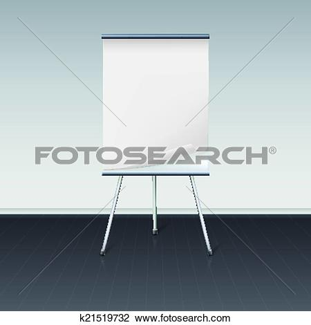 Clipart of Board for presentations with sheet of paper stand about.