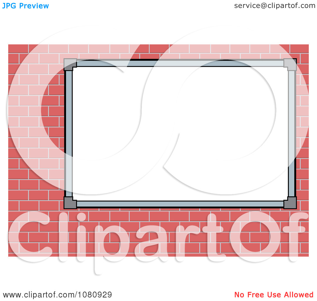 Clipart Blank White Sign Board On A Brick Wall.