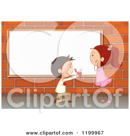 Cartoon of a Boy Proposing to a Girl in Front of a White Board on.