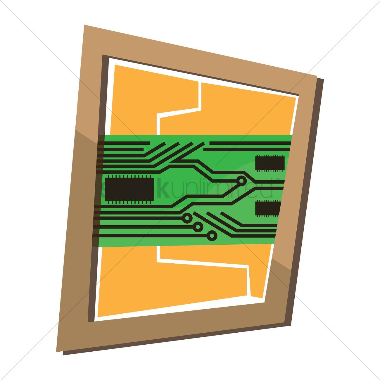 Circuit board wall frame Vector Image.