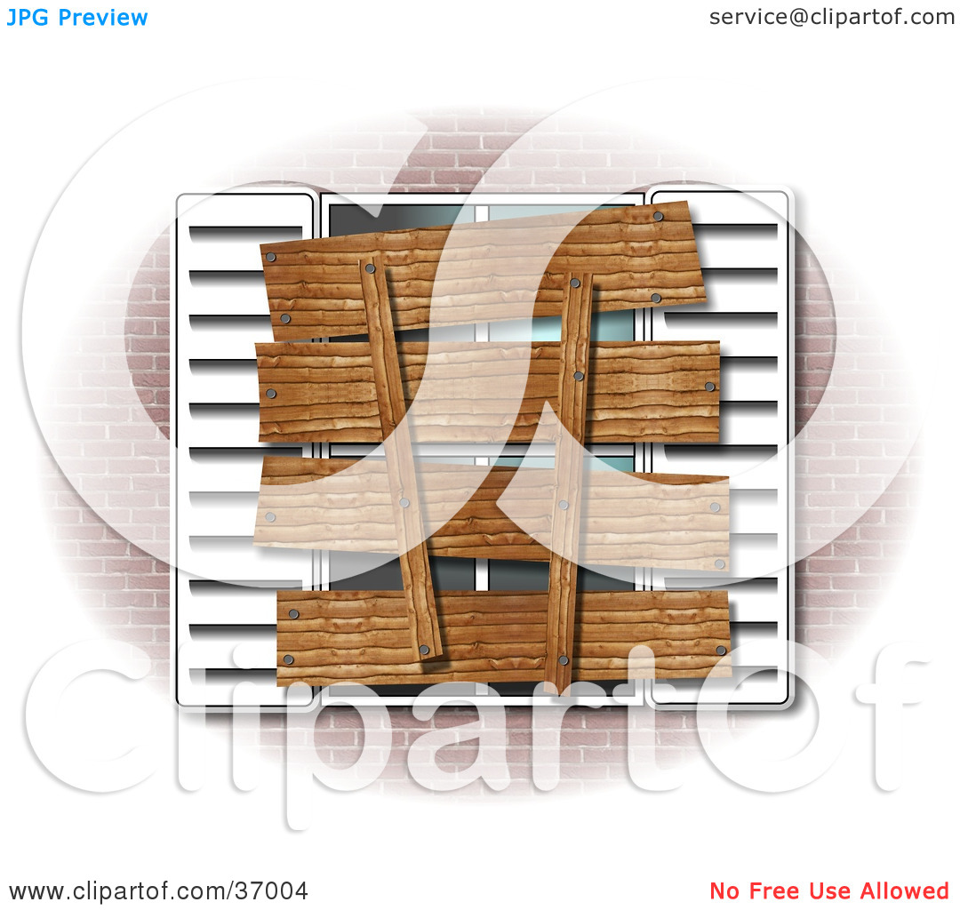 Clipart Illustration of a Boarded Up Window And Shutters Of A.