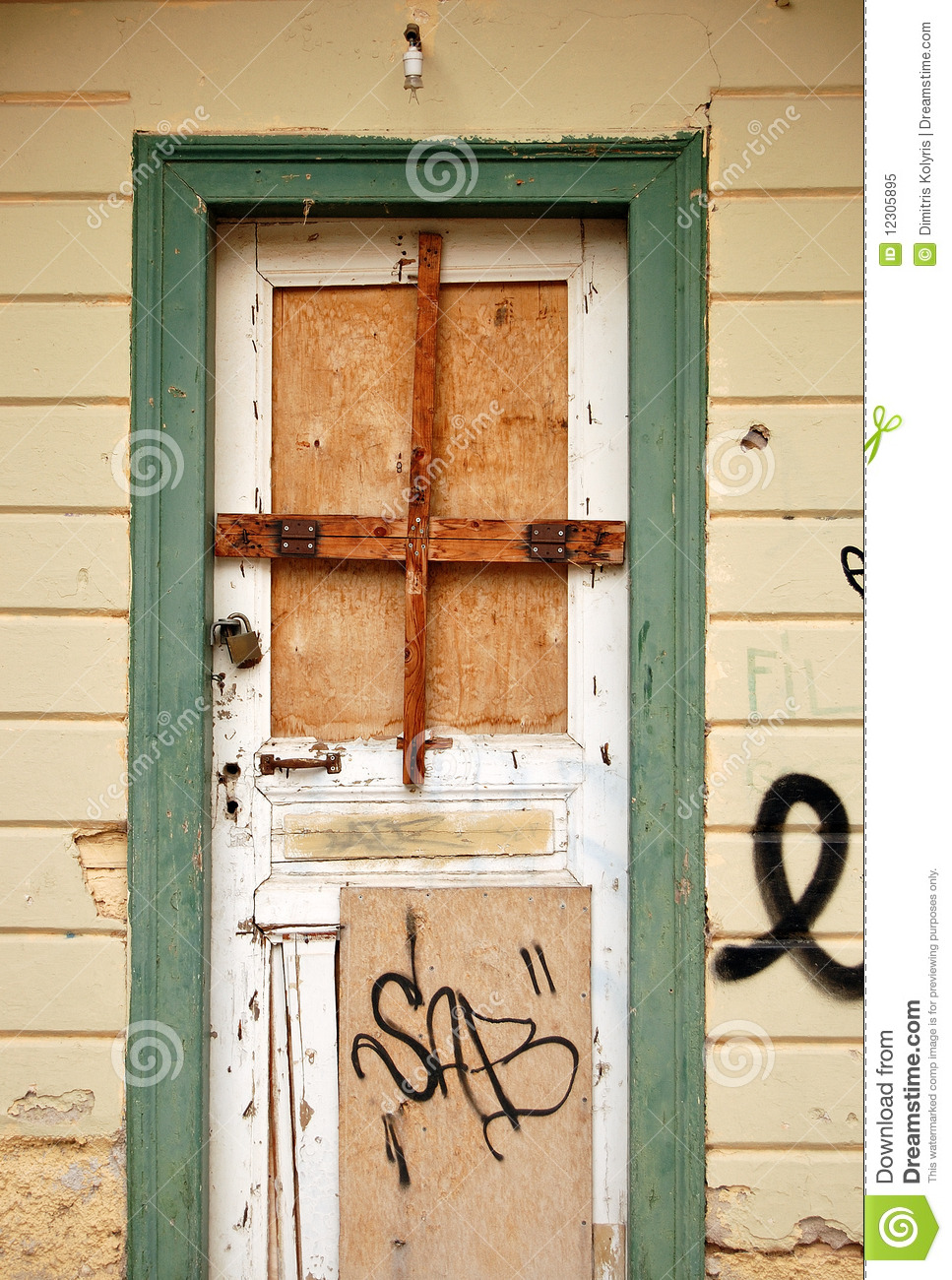 Boarded Up Door Royalty Free Stock Photo.