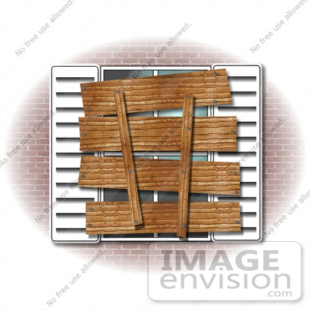 Clip Art Graphic Of A Foreclosed Or Condemned Home With A Boarded.