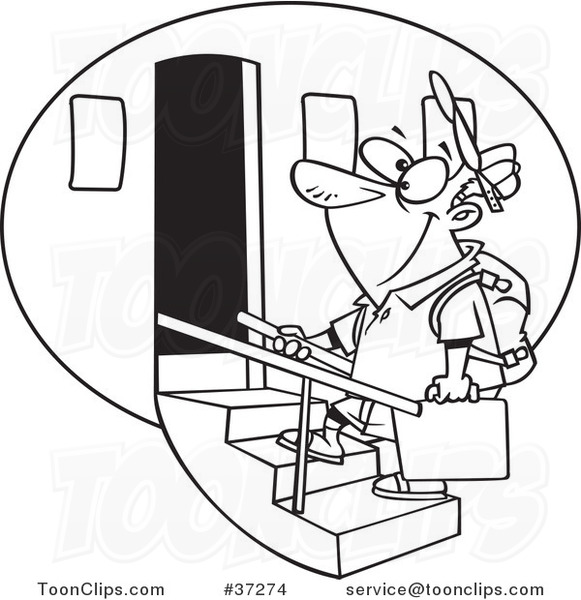 Black and White Outline Cartoon Tourist Guy Boarding an Airplane.