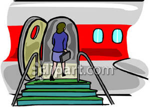 Boarding the plane clipart.