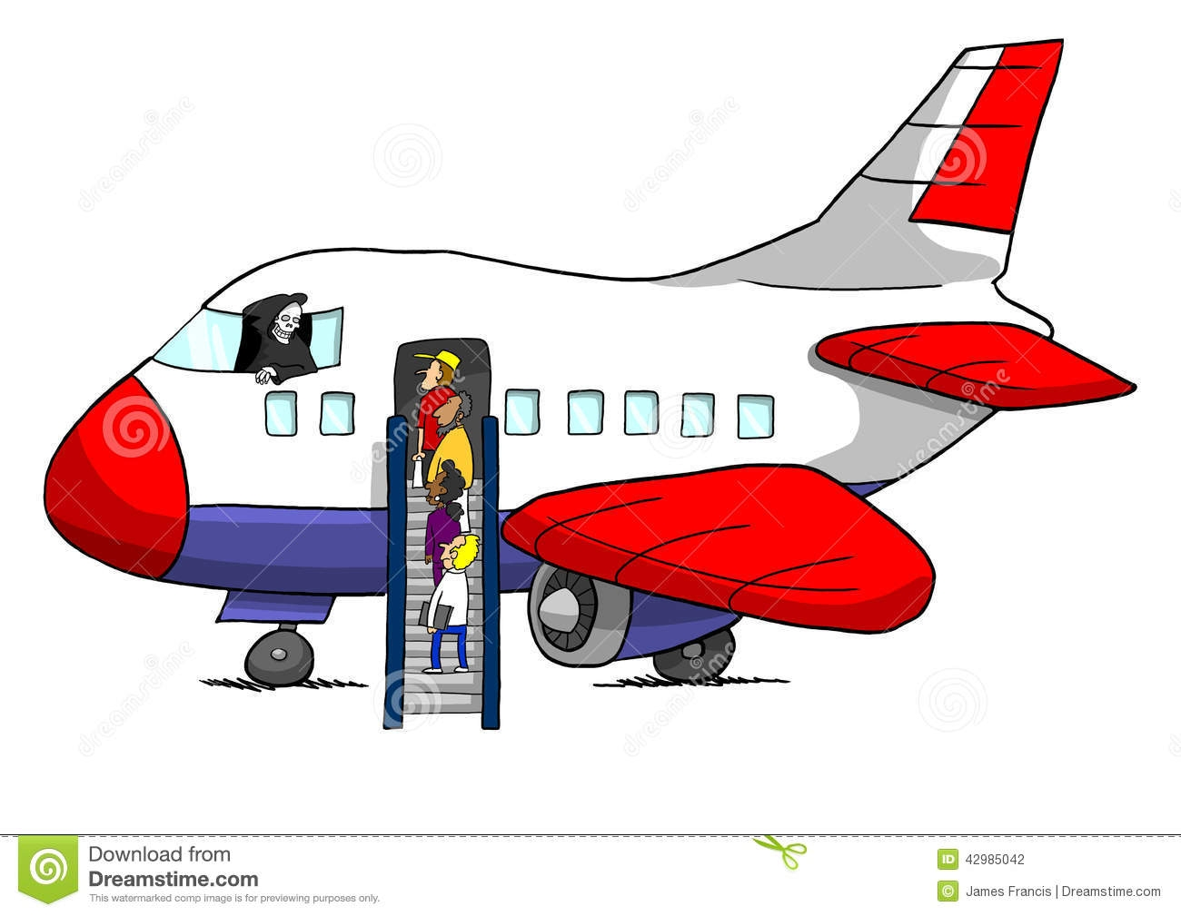Boarding airplane clipart.