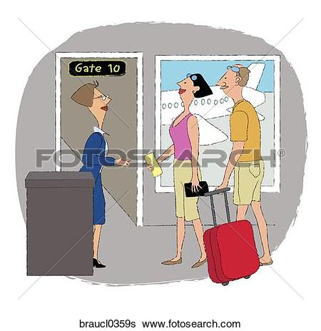 Stock Illustration of Couple Boarding a Flight braucl0359s.
