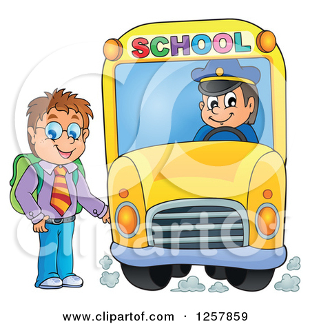 Clipart of a Brunette White Boy Boarding a School Bus.