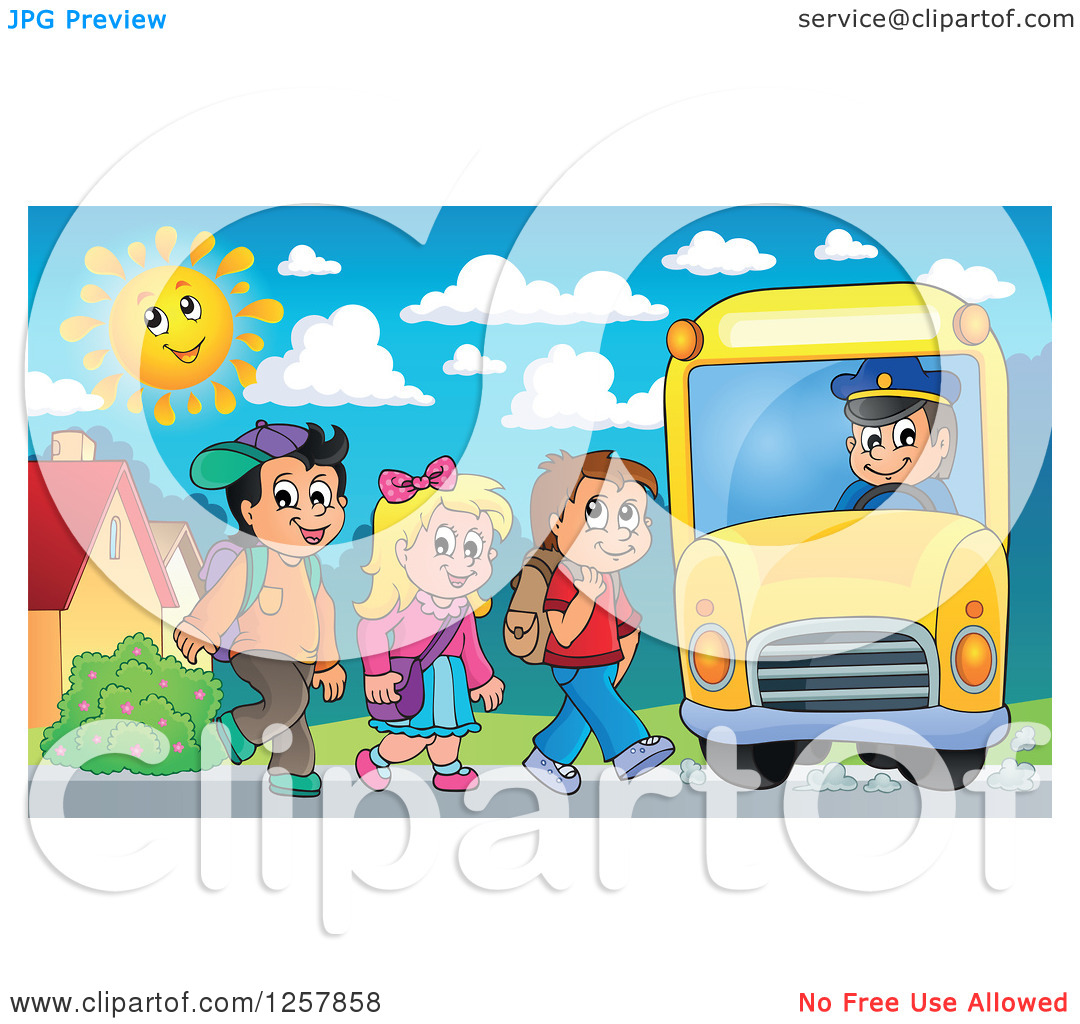 Clipart of a Group of School Children Boarding a Bus.