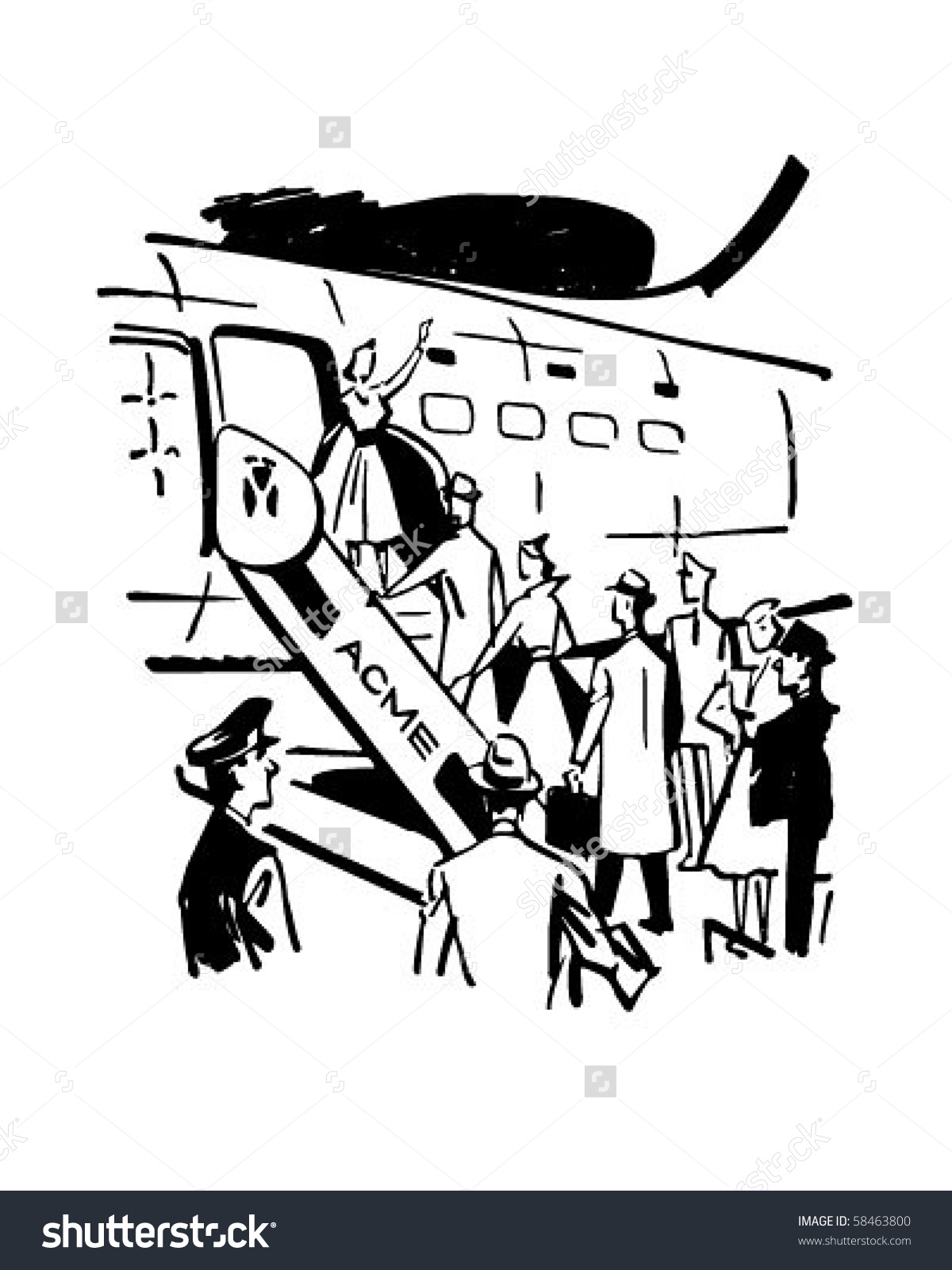 Boarding Plane Retro Clip Art Stock Vector 58463800.