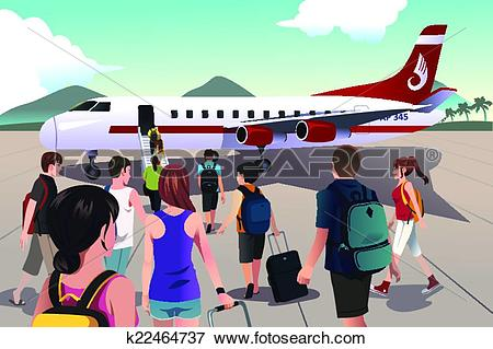 Clip Art of Tourists boarding on a plane k22464737.