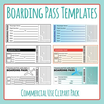 Boarding Pass Templates Clip Art for Commercial Use.