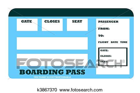 Blank aircraft boarding pass Clipart.