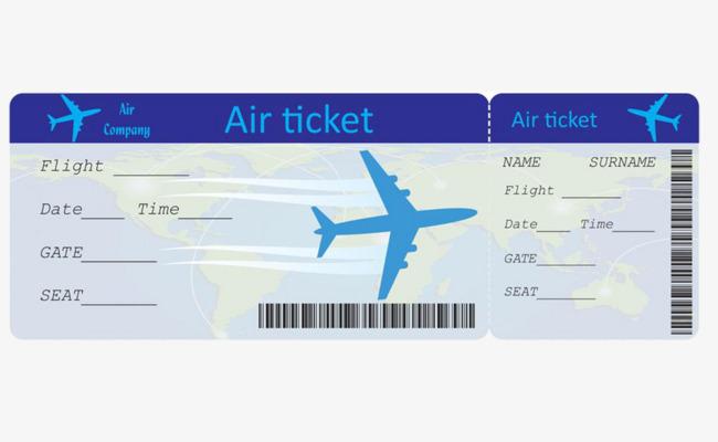 Blue Simple Plane Boarding Pass Graphics #142077.