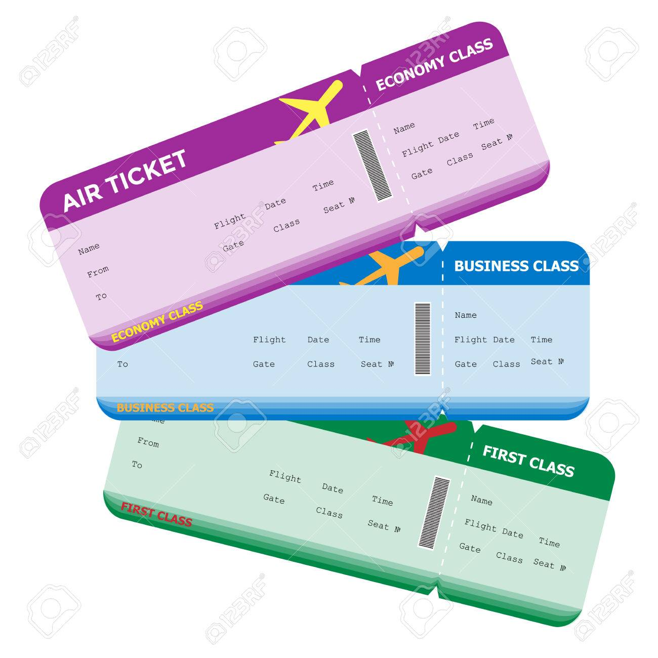 Three Classes of Blank Flight Boarding Pass Different Colors.