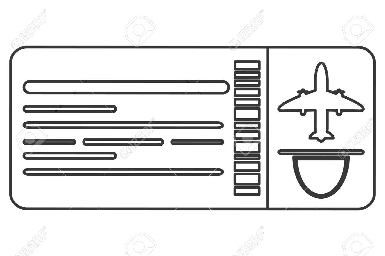 simple black line boarding pass airplane ticket vector illustration.