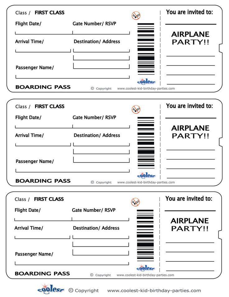 Printable Airplane Boarding Pass Invitations.
