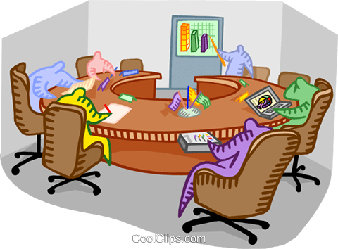 Boardroom meeting Royalty Free Vector Clip Art illustration.