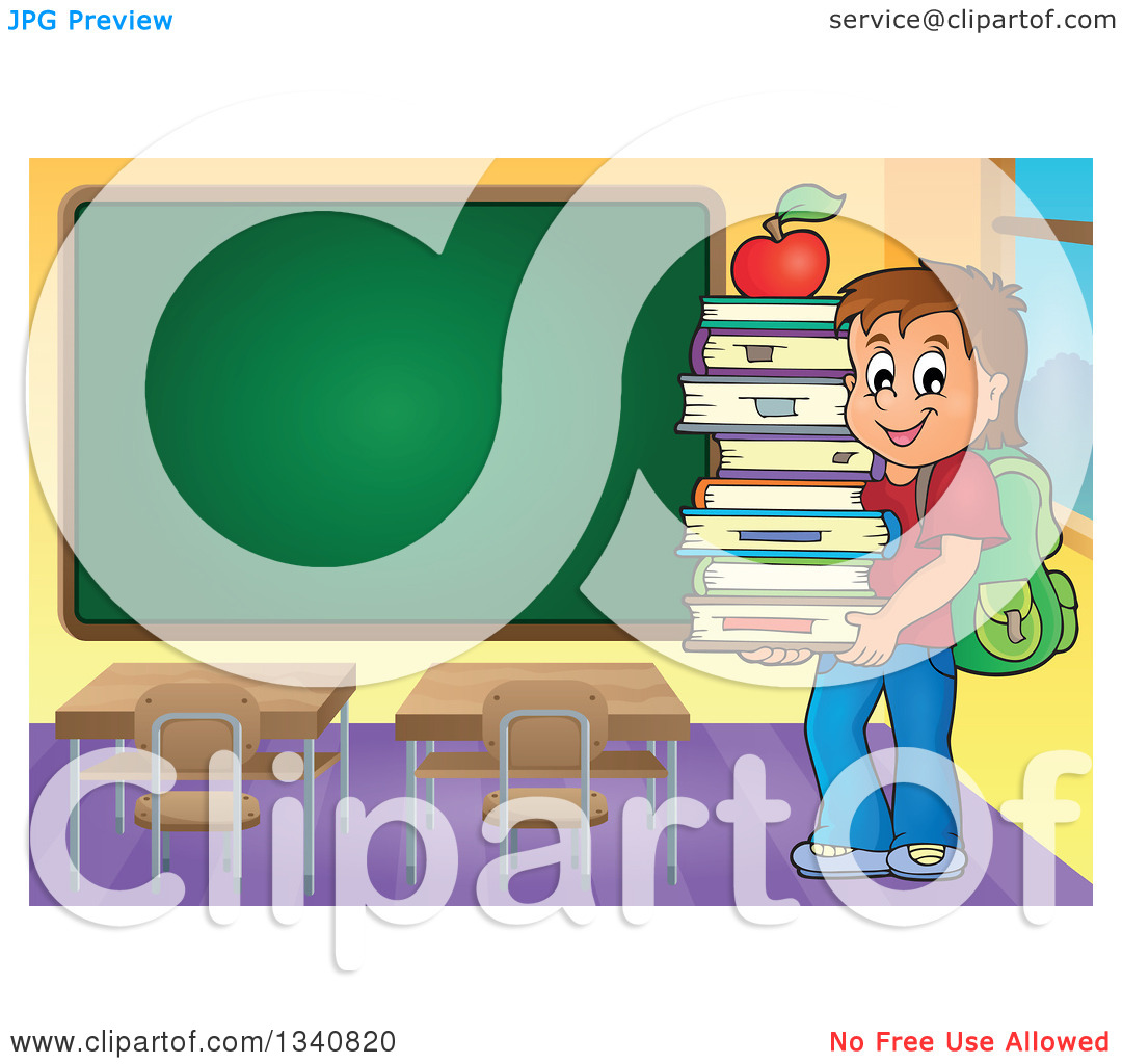 Clipart of a Cartoon Brunette Caucasian Boy Carrying a Stack of.