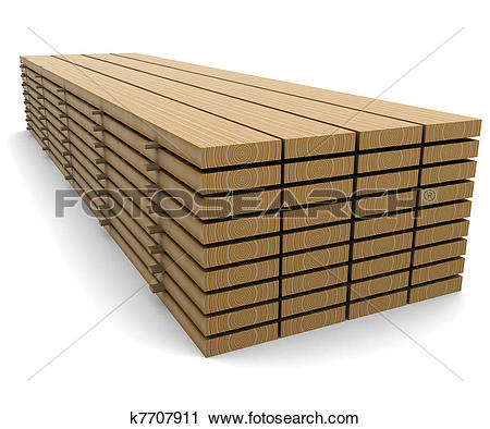 Clipart of A stack of pine boards on a white background k7707911.