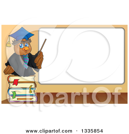 Clipart of a Cartoon Professor Owl on a Stack of Books, Holding a.