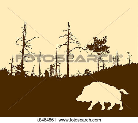 Clipart of silhouette of the wild boar k8464861.