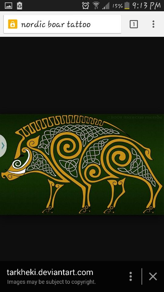 Nordic Boar Like the celtic design of the boar and the yellow goes.