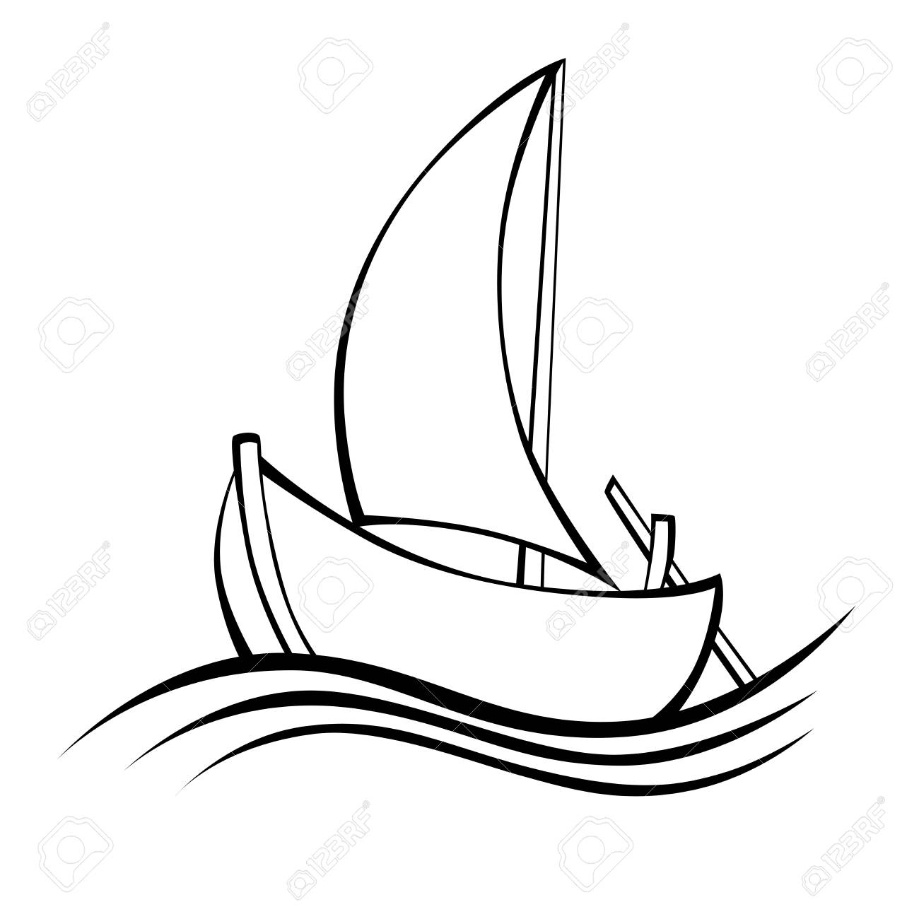 Sailing boat black white isolated object illustration.