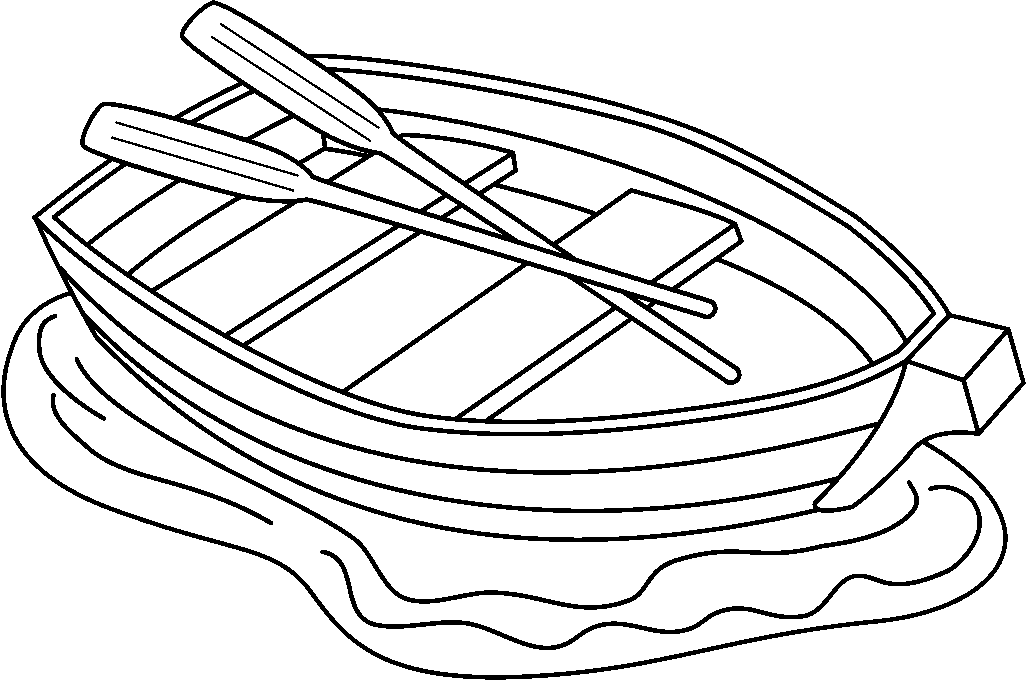 Row Boat Black And White Clipart.